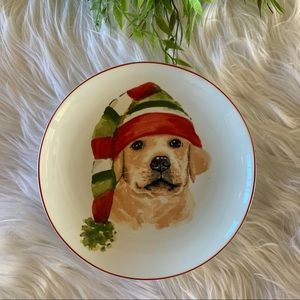 Pier 1 Christmas Puppies Labrador Plate 8""